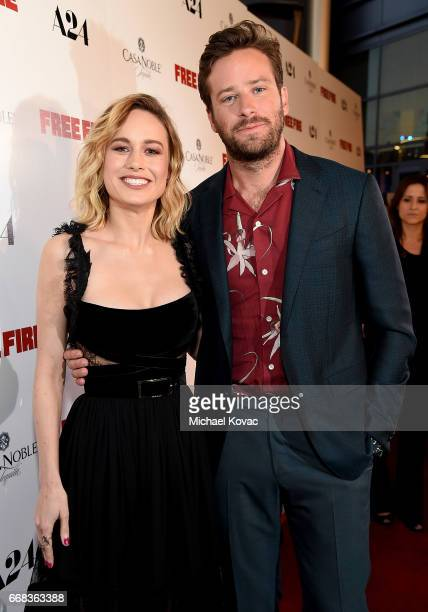 Actors Brie Larson and Armie Hammer attend The Los Angeles Premiere Of 'Free Fire' Presented By Casa Noble Tequila on April 13 2017 in Los Angeles...