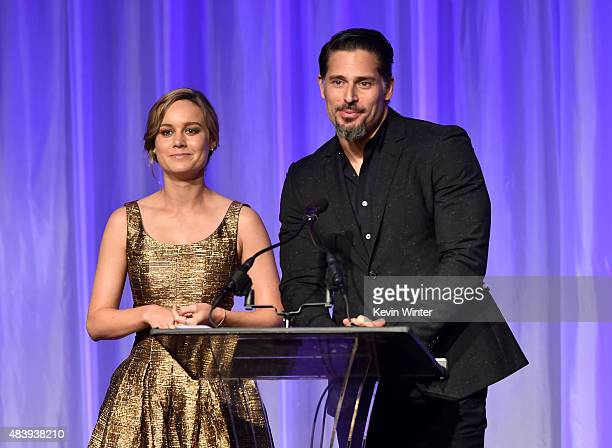 Actors Brie Larson and Joe Manganiello accept grant on behalf of Film Independent Project Involve and Film Independent Live Read Series onstage...