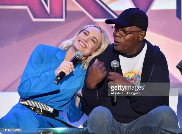 Actors Brie Larson and Samuel L Jackson speak onstage during Marvel Studios' Captain Marvel Global Junket Press Conference at The Beverly Hilton...
