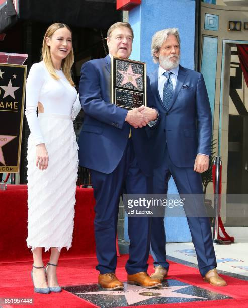 Actors Brie Larson John Goodman and Jeff Bridges attend a ceremony honoring John Goodman with the 2604th Star on The Hollywood Walk of Fame on March...