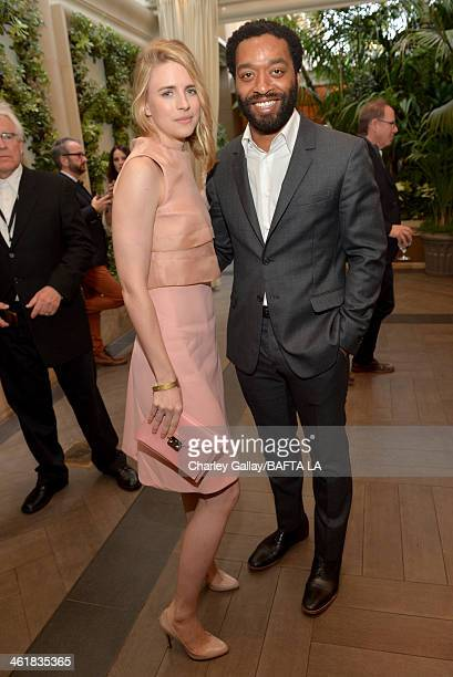 Actors Brit Marling and Chiwetel Ejiofor attend the BAFTA LA 2014 Awards Season Tea Party at the Four Seasons Hotel Los Angeles at Beverly Hills on...