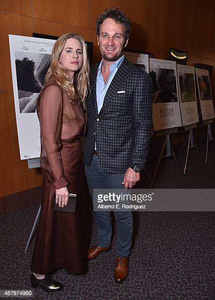 Actors Brit Marling and Jason Clarke attend the premiere of Amplify's The Better Angels at DGA Theater on October 27 2014 in Los Angeles California