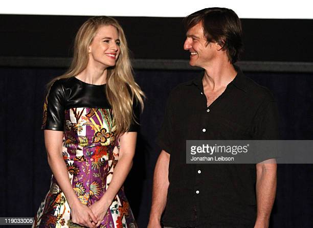 Actors Brit Marling and William Mapother speak at the Another Earth Q A during the 2011 Los Angeles Film Festival held at Regal Cinemas LA LIVE on...