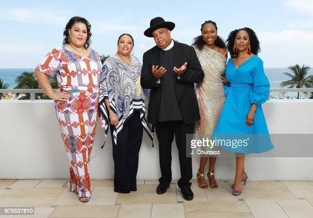 Actors Britney Young Justine Simmons Rev Run Sydelle Noel and Simone Missick pose for a portrait during the 22nd Annual American Black Film Festival...