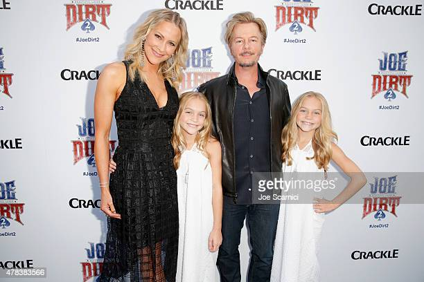 Actors Brittany Daniel Allison Gobuzzi David Spade and Lauren Gobuzzi attend the world premiere of Crackle's Joe Dirt 2 Beautiful Loser at Sony...