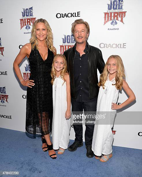 Actors Brittany Daniel Allison Gobuzzi David Spade and Lauren Gobuzzi attend the premiere of Crackle's new film Joe Dirt 2 Beautiful Loser at Sony...