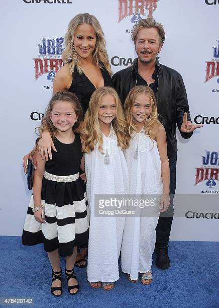 Actors Brittany Daniel David Spade Chloe Guidry Allison Gobuzzi and Lauren Gobuzzi arrive at the Joe Dirt 2 Beautiful Loser world premiere at Sony...