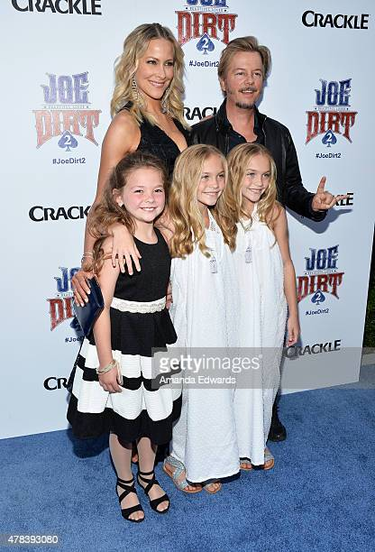 Actors Brittany Daniel David Spade Lauren Gobuzzi Allison Gobuzzi and Chloe Guidry arrive at the world premiere of Joe Dirt 2 Beautiful Loser hosted...