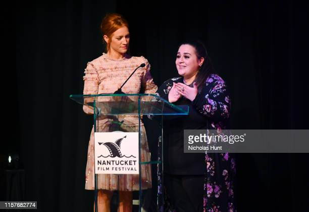 Actors Brittany Snow and Nikki Blonsky speak onstage at the Screenwriters Tribute at Sconset Casino during the 2019 Nantucket Film Festival - Day...