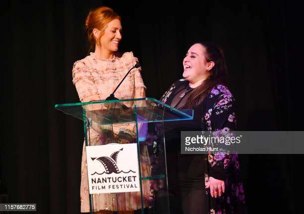 Actors Brittany Snow and Nikki Blonsky speak onstage at the Screenwriters Tribute at Sconset Casino during the 2019 Nantucket Film Festival Day Four...