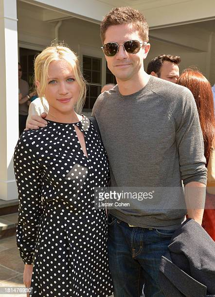 Actors Brittany Snow and Topher Grace attend the ICM Partners PreEmmy Brunch at the residence of Chris Silbermann on September 21 2013 in Santa...