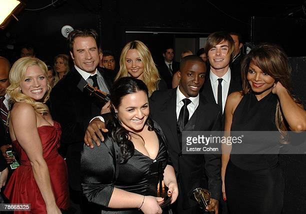 Actors Brittany Snow, John Travolta, Nikki Blonsky, Amanda Bynes, Elijah Kelley, Zac Efron and Janet Jackson backstage at Hollywood Film Festival's...