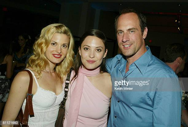 Actors Brooke D'Orsay Kate Kelton and Christopher Meloni pose at the afterparty for the premiere of New Line's Harold Kumar Go to White Castle at the...