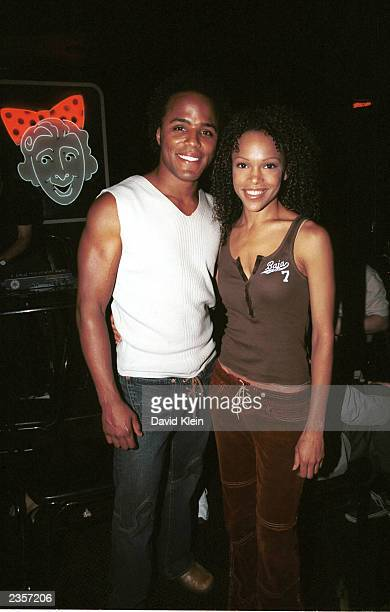 Actors Brooke Kerr of Passions and Christopher Warren pose at The Comedy Store in West Hollywood where The Smothers Brothers performed for the...