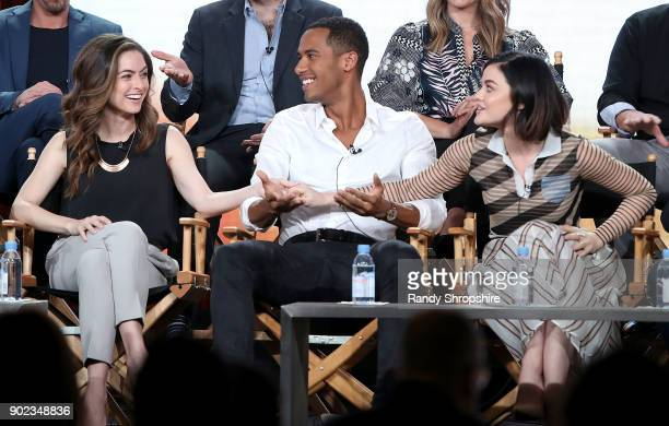Actors Brooke Lyons Elliot Knight and Lucy Hale of the television show 'Life Sentence' speak on stage during the CW portion of the 2018 Winter...