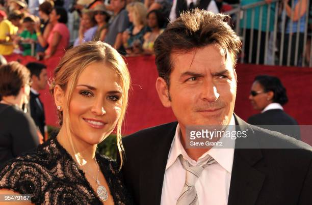 Actors Brooke Mueller and Charlie Sheen arrive at the 61st Primetime Emmy Awards held at the Nokia Theatre on September 20, 2009 in Los Angeles,...