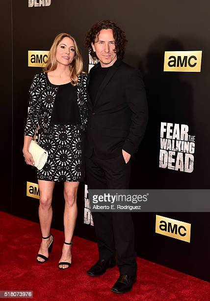 Actors Brooke Nevin and Michael Traynor attend the premiere of AMC's Fear The Walking Dead Season 2 at Cinemark Playa Vista on March 29 2016 in Los...