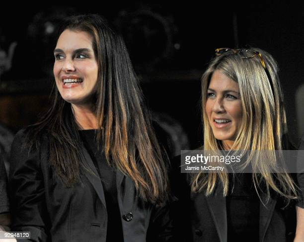 Actors Brooke Shields and Jennifer Aniston take a bow at the Annual 24 Hour Plays Curtain Call presented by Montblanc at the American Airlines...