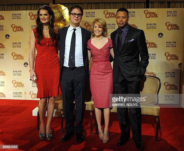 Actors Brooke Shields Rainn Wilson Elizabeth Banks and Terrence Howard pose during the 66th Annual Golden Globes nomination announcements held at the...