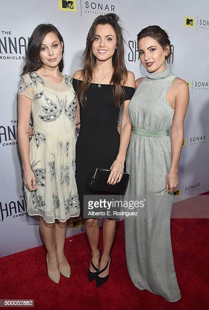 Actors Brooke Williams Poppy Drayton and Ivana Baquero attend the premiere of MTV and Sonar Entertainment's 'The Shannara Chronicles' at iPic...
