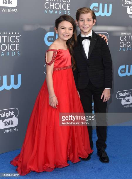 Actors Brooklynn Prince and Jacob Tremblay attend the 23rd Annual Critics' Choice Awards at Barker Hangar on January 11 2018 in Santa Monica...