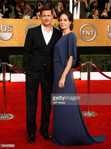 Actors Brrad Pitt and Angelina Jolie arrive at the 15th Annual Screen Actors Guild Awards held at the Shrine Auditorium on January 25 2009 in Los...