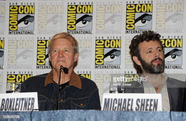 Actors Bruce Boxleitner and Michael Sheen speak at the Tron Legacy panel during ComicCon 2010 at San Diego Convention Center on July 22 2010 in San...