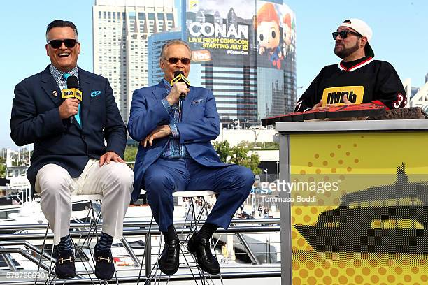Actors Bruce Campbell and Lee Majors of Ash Vs Evil Dead and host Kevin Smith attend the IMDb Yacht at San Diego ComicCon 2016 Day Two at The IMDb...