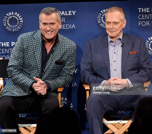 Actors Bruce Campbell and Lee Majors present onstage at The Paley Center for Media's 10th Annual PaleyFest Fall TV Previews honoring STARZ's Ash vs...
