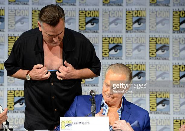 Actors Bruce Campbell and Lee Majors speak on stage during the 'Ash vs Evil Dead' panel during ComicCon International at the San Diego Convention...