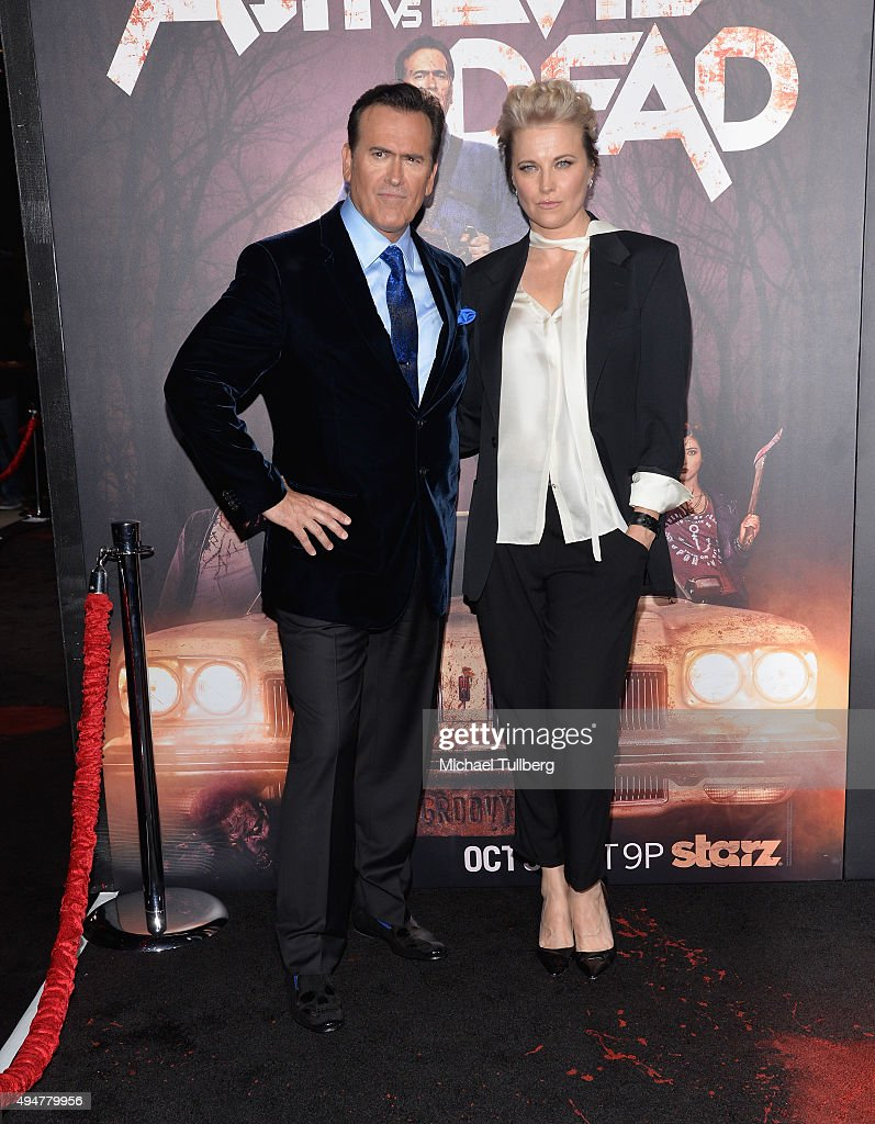 Actors Bruce Campbell and Lucy Lawless attend the premiere of STARZ's 'Ash vs Evil Dead' at TCL Chinese Theatre on October 28, 2015 in Hollywood, California.