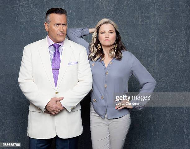 Actors Bruce Campbell and Lucy Lawless of 'Ash vs Evil Dead' are photographed for Los Angeles Times at San Diego Comic Con on July 22 2016 in San...