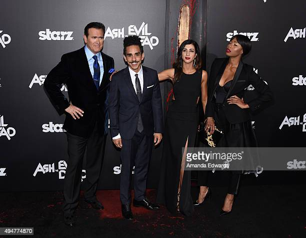 """Actors Bruce Campbell, Ray Santiago, Dana DeLorenzo and Jill Marie Jones arrive at the premiere of STARZ's """"Ash Vs Evil Dead"""" at TCL Chinese Theatre..."""