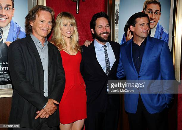 Actors Bruce Greenwood Lucy Punch Paul Rudd and Steve Carell attend the 'Dinner For Schmucks' premiere at the Ziegfeld Theatre on July 19 2010 in New...