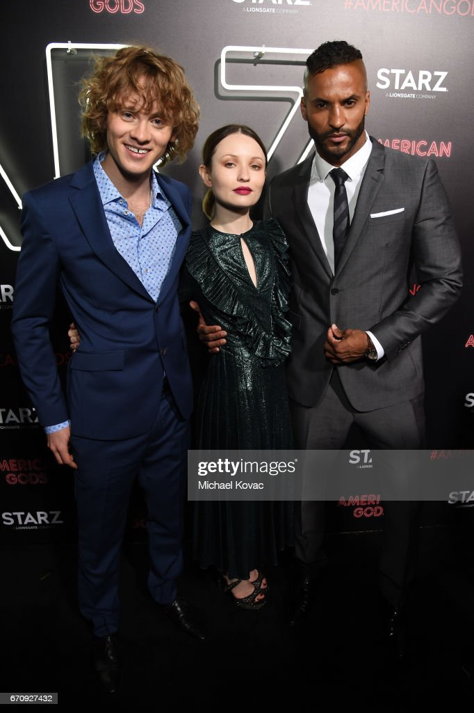 Actors Bruce Langley, Emily Browning, and Ricky Whittle attend the 'American Gods' premiere at ArcLight Hollywood on April 20, 2017 in Los Angeles, California.