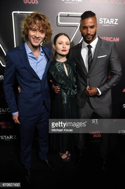 Actors Bruce Langley Emily Browning and Ricky Whittle attend the American Gods premiere at ArcLight Hollywood on April 20 2017 in Los Angeles...