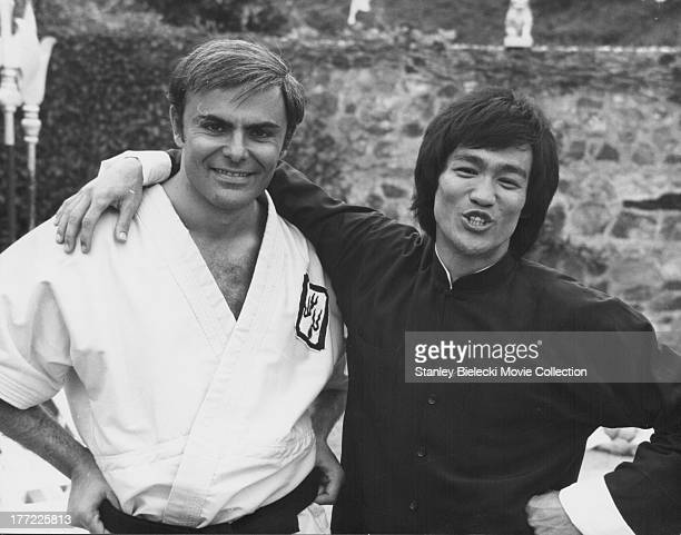 Actors Bruce Lee and John Saxon on the set of the movie 'Enter the Dragon' 1973