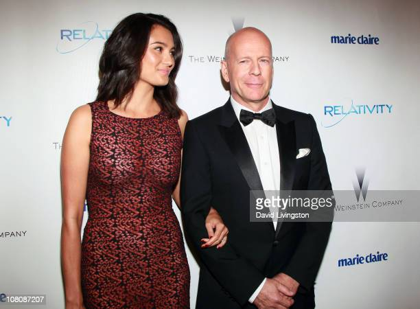 Actors Bruce Willis and Emma Heming arrive at The Weinstein Company And Relativity Media's 2011 Golden Globe Awards Party held at The Beverly Hilton...
