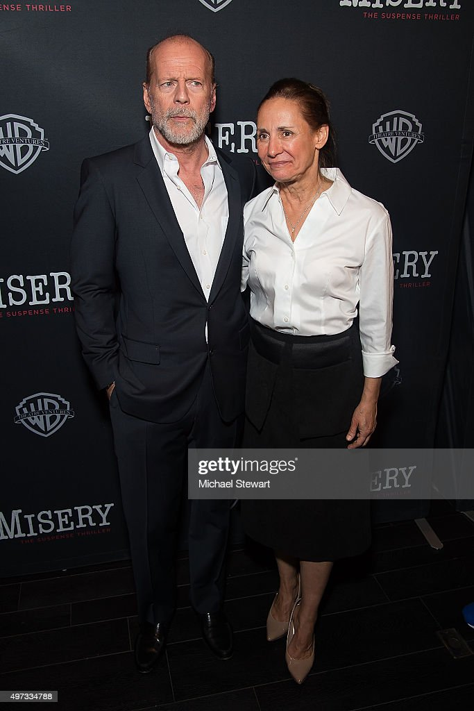 Actors Bruce Willis (L) and Laurie Metcalf attend the 'Misery' Broadway opening night after party at TAO Downtown on November 15, 2015 in New York City.