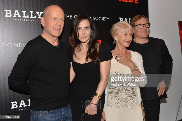 Actors Bruce Willis MaryLouise Parker Helen Mirren and producer Lorenzo di Bonaventura attend The Cinema Society and Bally host a screening of Summit...