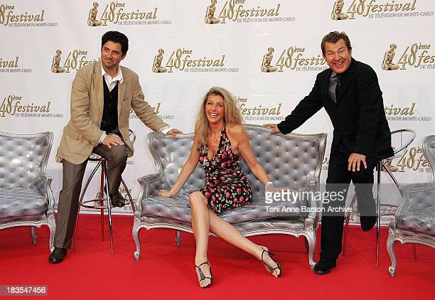 Actors Bruno Madinier, Karine Belly and Martin Lamotte attend the TF1 party on the fourth day of the 2008 Monte Carlo Television Festival held at...