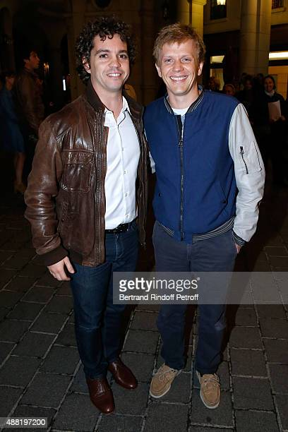 Actors Bruno Sanches and Alex Lutz attend 'Le Mensonge' Theater Play Held at Theatre Edouard VII on September 14 2015 in Paris France