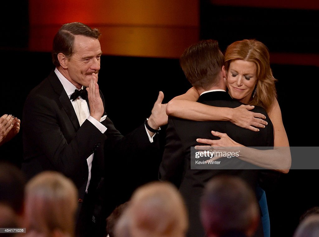 Actors Bryan Cranston, Aaron Paul and Anna Gunn celebrate winning Outstanding Drama Series for 'Breaking Bad' onstage at the 66th Annual Primetime Emmy Awards held at Nokia Theatre L.A. Live on August 25, 2014 in Los Angeles, California.