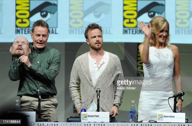 "Actors Bryan Cranston, Aaron Paul, and Anna Gunn speak onstage at the ""Breaking Bad"" panel during Comic-Con International 2013 at San Diego..."