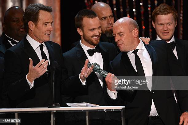 Actors Bryan Cranston Aaron Paul Dean Norris and Jesse Plemons speak onstage during 20th Annual Screen Actors Guild Awards at The Shrine Auditorium...