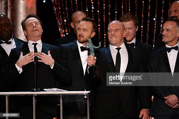 Actors Bryan Cranston Aaron Paul Dean Norris Jesse Plemons and Michael Bowen speak onstage during 20th Annual Screen Actors Guild Awards at The...