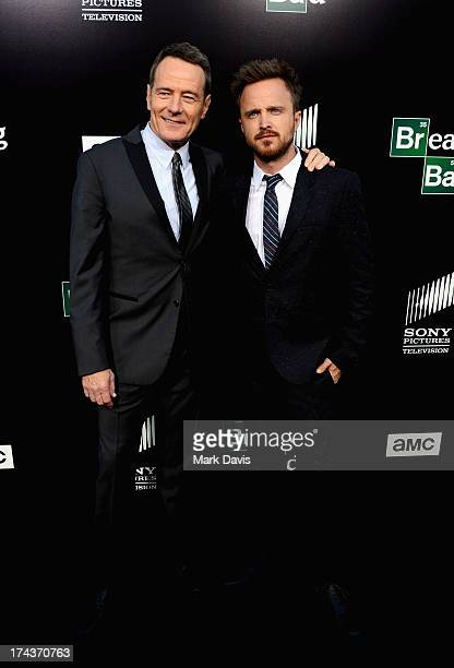 """Actors Bryan Cranston and Aaron Paul arrive as AMC Celebrates the final episodes of """"Breaking Bad"""" at Sony Pictures Studios on July 24, 2013 in..."""