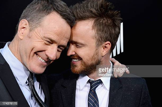 "Actors Bryan Cranston and Aaron Paul arrive as AMC Celebrates the final episodes of ""Breaking Bad"" at Sony Pictures Studios on July 24, 2013 in..."
