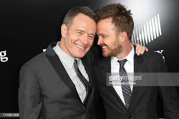 Actors Bryan Cranston and Aaron Paul arrive as AMC Celebrates the final episodes of 'Breaking Bad' at Sony Pictures Studios on July 24, 2013 in...