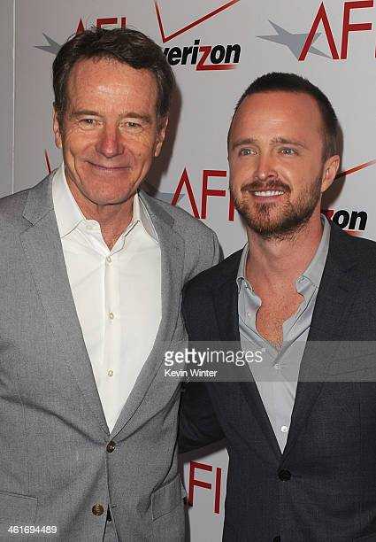 Actors Bryan Cranston and Aaron Paul attend the 14th annual AFI Awards Luncheon at the Four Seasons Hotel Beverly Hills on January 10 2014 in Beverly...